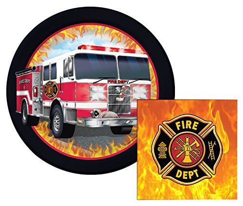 Fire Watch Truck Themed Dessert Napkins & Plates Party Kit for 8