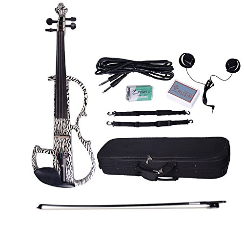 Dsg-1305 4/4 Electric-Acoustic Violin With Pinstripe Pattern And Other Accessories White,Black