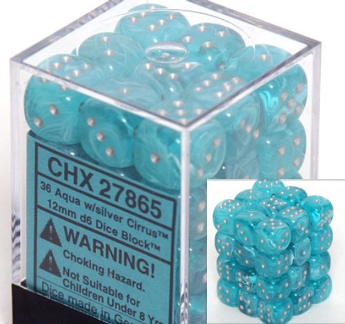 Chessex Dice d6 Sets: Cirrus Aqua with Silver - 12mm Six Sided Die (36) Block of Dice - 1