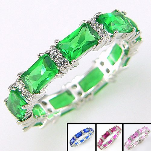 CZ Emerald Sterling Silver Ring - Eternity Band (Emerald Green Displayed) By Windsor Sterling (5) - Available in Sapphire Blue & Ruby Red CZ & Sterling Silver