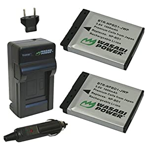 Wasabi Power Battery (2-Pack) and Charger for Sony NP-BD1, NP-FD1 and Sony Cyber-shot DSC-G3, DSC-T2, DSC-T70, DSC-T75, DSC-T77, DSC-T90, DSC-T200, DSC-T300, DSC-T500, DSC-T700, DSC-T900, DSC-TX1
