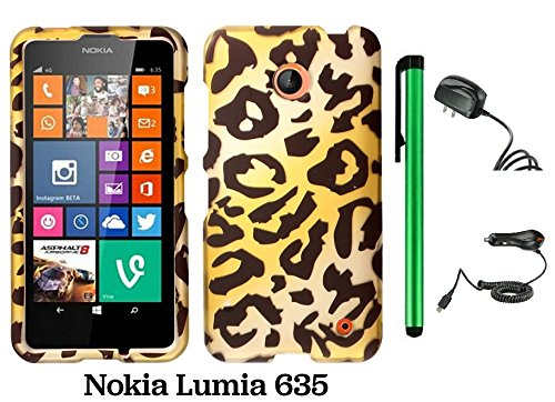Nokia Lumia 635 (Us Carrier: T-Mobile, Metropcs, And At&T) Premium Pretty Design Protector Cover Case + Travel (Wall) Charger & Car Charger + 1 Of New Assorted Color Metal Stylus Touch Screen Pen (Gold Leopard)