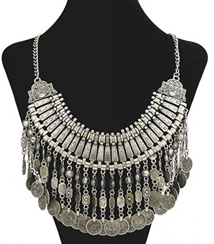 Gypsy Bohemian Vintage Gold Coin Turkish Beachy Bib Statement Necklace(Silver) - 1