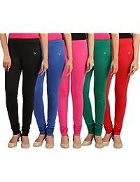 FlyColors Women's Cotton Churidar Leggings (Pack Of 5)