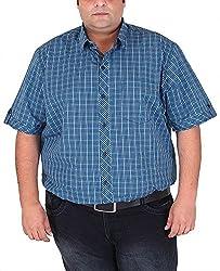 Xmex Men's Cotton Shirt (KR-HSECOWHITE, Blue, XXXXX-Large)
