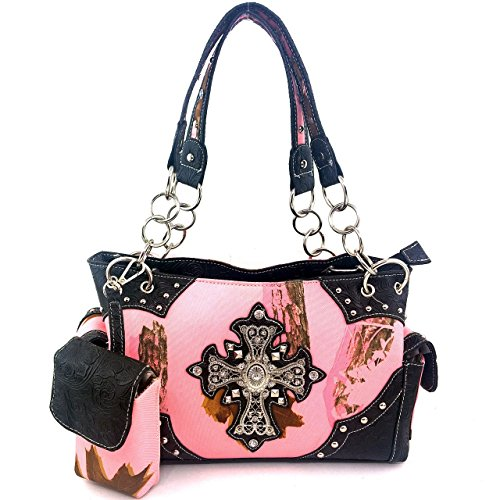 2015 New Style Rhinestone Buckle Concho Concealed Carry Cross Camouflage Leather Shoulder Handbag Purse and Optional Messenger Bag, Walletin 3 Colors. Black (kW04 Black Handbag)