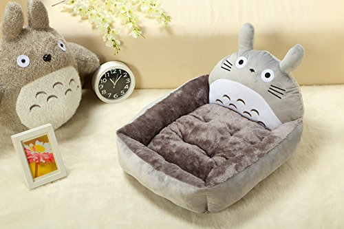 Quiet Time Fashion Pet Bed, Indoor House Bed Shelter,  Lounge Sleeper Tan, Grey Totoro, (Large-23.6x19.7x6.7in, grey)