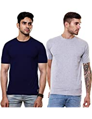 EnquotismPack Of 2 Plain Round Neck T-shirts - B01GPZZ0D0