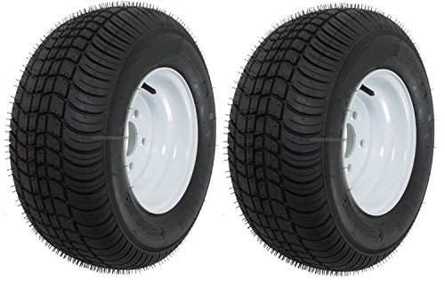 Two Trailer Tire & Rims 20.5 X 8 X 10 205/65-10 20.5/8-10 20.5/800-10 5Lug White (Trailer Tires 205 65 10 compare prices)