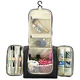 Hipiwe Travel Toiletry Bags Organizer for Women Cosmetic Makeup or Men Shaving Kit Washable (Black)