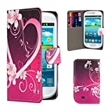 32nd® Design book wallet PU leather case cover for Samsung Galaxy Mini GT-S5570 + screen protector and cleaning cloth - Love Heart