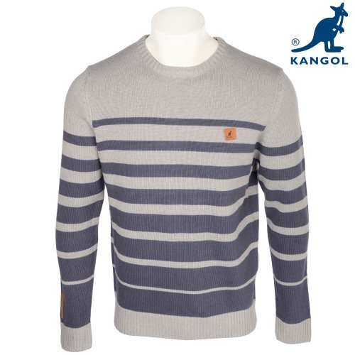 Kangol Men's Greymarl With Slate Stripe Detail Knitted Jumper in Size XLarge