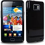 CNL HIGH GLOSS BLACK HYDRO GEL CASE WITH TIGERBOX SCREEN PROTECTOR FOR SAMSUNG GALAXY S2 / SII i9100 MOBILE PHONE