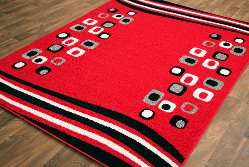 Modern High Quality Frise Yarn Red Black Pattern Area Rug 220cm x 320cm (7ft 3