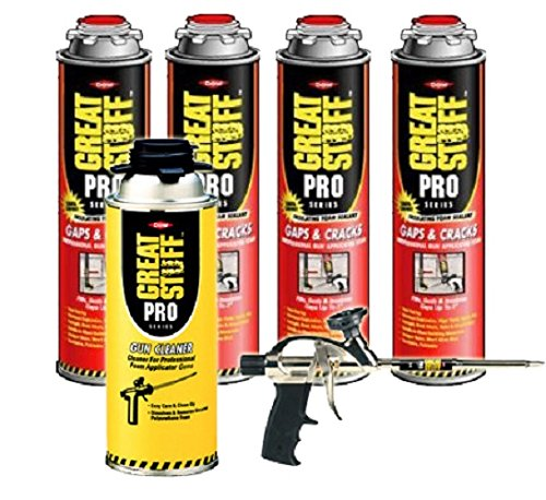 Dow Great Stuff Pro Gaps and Cracks Foam (4 cans) & Pro 14 & Gun Cleaner - 341557 (Crack Cleaner compare prices)