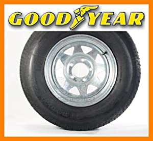 2 Goodyear Radial Trailer Tires + Rims ST205/75R14 205/75-14 14 Galvanized Spoke