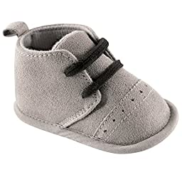 Luvable Friends Boy\'s Desert Boots (Infant), Gray, 0-6 Months M US Infant