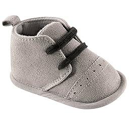 Luvable Friends Boy\'s Desert Boots (Infant), Gray, 0-6 Months M US Infant