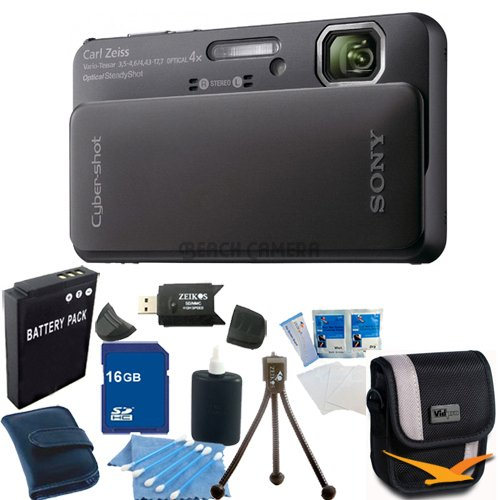 Sony Cyber-Shot DSC-TX10 16.2 MP Waterproof Digital Still Camera with Exmor R CMOS Sensor, 3D Sweep Panorama and Full HD 1080/60i Video (Black)16GB Bundle - Includes DSCTX10 (Black), 16 GB Memory Card, Battery, Camera Carrying Case, Memory Card Reader,