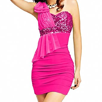 DJT Sexy Damen Rueckenfrei Pailletten One-Shoulder Kleid Minikleid Party Abendkleid Rosa