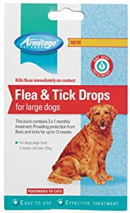 Armitage Flea and Tick Drops for Large Dogs, 12 Weeks Treatment