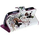 ZeWoo Folio Ledertasche - N005 / Schmetterling + Bunte Blumen - für Samsung Galaxy Trend S7560 / Trend Plus S7580 PU Leder Tasche Brieftasche Case Cover (NICHT FÜR Trend Lite S7390 / S7392)