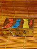The India Craft House Tin Gond Painted Steel Trunk - 3 x 6 x 9