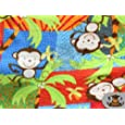"""Fleece Printed Fabric MULTI COLORED MONKEY / 58"""" Wide / Sold by the yard S-501"""