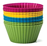Baking Essentials Silicone Baking Cups, Set of 12 Reusable Cupcake Liners in Four Colors - USE for Muffin, Gelatin, Snacks, Frozen Treats, Ice Cream or Chocolate Shell-lined Dessert Molds, Non-stick