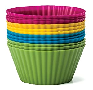 Baking Essentials Silicone Baking Cups, Set of 12 Reusable Cupcake Liners in Four Colors -... by Silicone