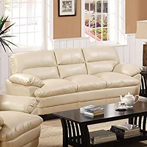 Bonded Leather Match Sofa in Light Taupe Finish by