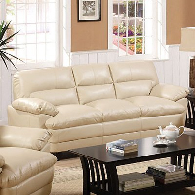 Bonded Leather Match Sofa in Light Taupe Finish by Furniture of America
