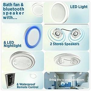 Decorative White 90 Cfm Bluetooth Stereo Speaker Bath Fan With Led Light