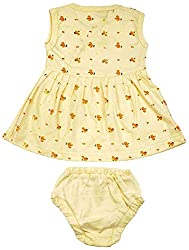 kandyfloss Baby Girls' A-Line Frock and Bottom Set (MRHKF-FROCK-YLW, Yellow, 9-12 Months)