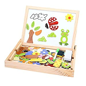 Wooden Toys Animal Easel Doodle Drawing Board Jigsaw Blackboard Toy For Children