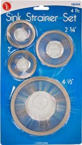 Set of 4 Tub Mesh Sink Strainer, Stainless