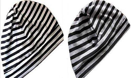 医療用帽子 シンプル 使いやすい ボーダータイプ (ホワイト・ブラック)