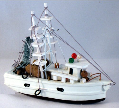 Wood Nautical 5 Inch Fully Assembled Shrimp Fishing Boat