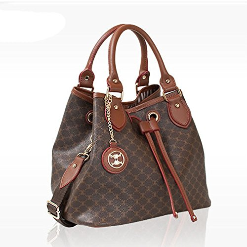 You Save Leather Accents Drawstring Handbag (brown)