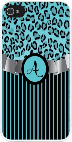 """Rikki Knighttm Letter """"A"""" Initial Sky Blue Leopard Print And Stripes Monogrammed Design Iphone 4 & 4S Case Cover (White Rubber With Bumper Protection) For Apple Iphone 4 & 4S front-591601"""
