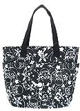 Floral Skull Print Tote Bag Black and White