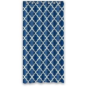 Custom Unique Design Moroccan Navy Blue Quatroleavian Quatrefoil Pattern Waterproof