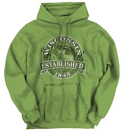 Wisconsin The Badger State Hooded Sweatshirt Bass Fishing