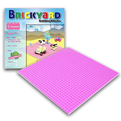 Pink Baseplate, 10 x 10 Inches Large Thick Base Plate for Building Bricks by Brickyard Building Blocks, Perfect for Activity Table or Displaying Compatible Construction Toys (Pink) (Building Blocks Pink Tub compare prices)
