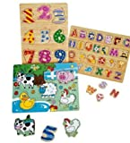 Farm Animals Kids Wooden Jigsaw Set.