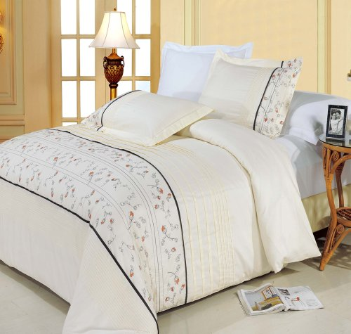 Egyptian Bedding Anna Embroidered King Size Duvet Cover Set, 100% EGYPTIAN COTTON