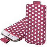 Shop4 Pink / White Retro Polka Dot Fashion Pouch Cover Case with Pull Tab For Samsung Galaxy S Advance i9070 Mobile Phone