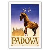 パドヴァ、イタリア -  トロイの木馬 - パドゥアのアントニオの教皇の裁判所 - ビンテージな世界旅行のポスター によって作成された バービー - ベンヴィグナティ c.1950s - キャンバスアート - 69cm x 102cm キャンバスアート(ロール)