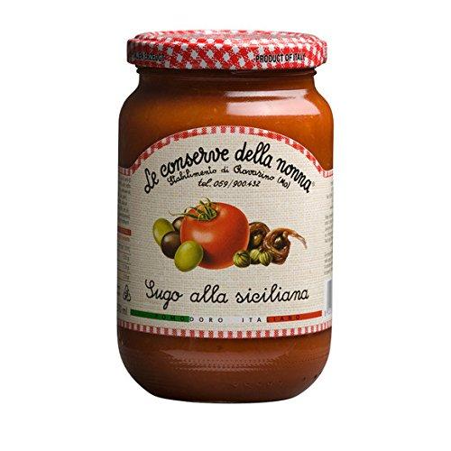 Le Conserve della nonna - Sauce tomate avec olives et capres - Le bocal de 350g - (pour la quantité plus que 1 nous vous remboursons le port supplémentaire)