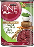 Purina ONE SmartBlend Wet Dog Food, Classic, Ground Lamb & Long Grain Rice Entrée, 13-Ounce Can, Pack of 12